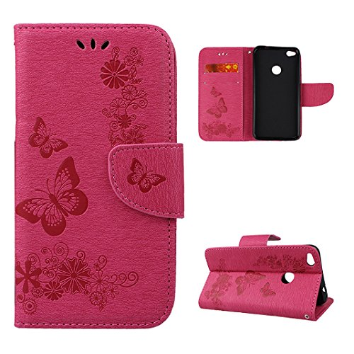 Rosa Schleife Leather Butterfly Embossed