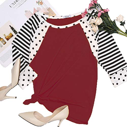 SoTeer Women's Striped 3/4 Sleeve Polka Dots Print T-Shirts Casual Blouse Tops (Wine Red, S)