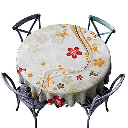 Mannwarehouse Floral Restaurant Tablecloth Swirling Florets Fragrance Botanical Beauty with Wavy Lines Butterflies Spring Theme Great for Buffet Table D71 Multicolor