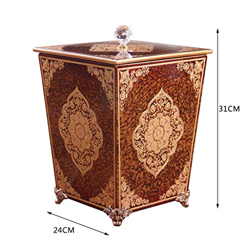 CSQ Creative Wooden Trash Can, Villa Living Room Rural Trash Can with Lid Hand-Painted Pattern Barrel 242431CM Indoor (Color : A, Size : 242431CM) by Outdoor trash can (Image #1)