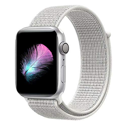 Yunsea Compatible with for Apple Watch Band 38mm, Soft Nylon Sport Loop, with Hook and Loop Fastener, Band Compatible with for iwatch Series 4, Series 3, Series 2, Series 1 (38mm, Summit White)
