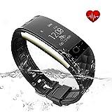 Fitness Tracker Kybeco Heart Rate Activity Tracker Stylish Waterproof Swimming Surfing Bicycling Wearable Fitness Wristband Wireless Smart Bluetooth Bracelet Sleep Tracking Pedometer (Black)