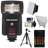 Precision Design DSLR400V High Power Auto Flash with LED Video Light + Batteries & Charger + Soft Box + Reflector + Tripod Kit for Sony Alpha A6000, A7, A7R, Cyber-Shot DSC-RX1, RX1R, RX10, RX100