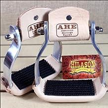 Hilason Western Aluminum Horse Saddle Barrel Stirrups W/ Rubber Foot Pad