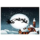ice house sled - TOOGOO(R) Vinyl Christmas Day Ice and snow, house, elk sled on the moon Seamless background cloth 2.11.5M(75ft) Seamless Photography Backgrounds Props