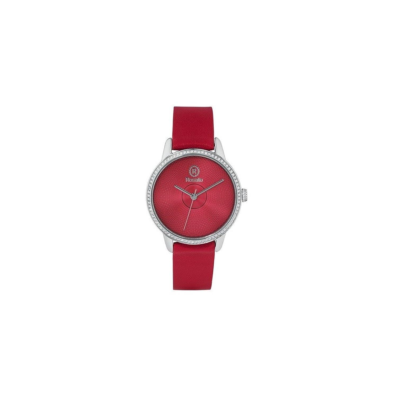Uhr RosÉ Damen rwro05 Quarz (Batterie) Stahl Quandrante rot Armband Leder