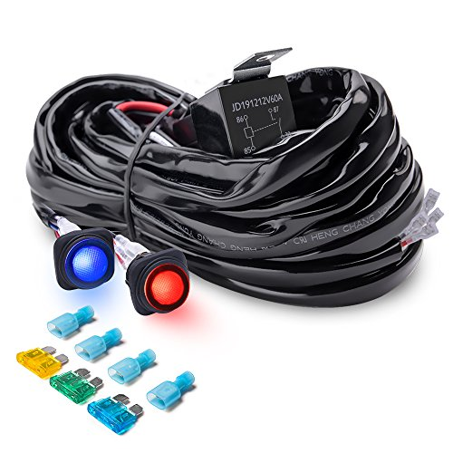 MICTUNING Heavy Duty 300W 2-Circuit Led Light Bar Wiring Harness Kit w/ Fuse, 60Amp Relay, DUAL Waterproof Switches Red Blue(14AWG) (Dual Switch Wiring)