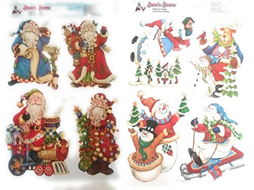 2 CHRISTMAS Santa and Snowman Glitter Window Clings Bundle Large Visible from Both Sides Reusable Great Value (Presents Noel's Time Christmas 2017)