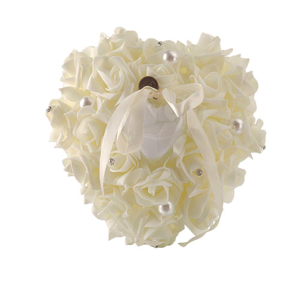 Skingwa リングピロー ウェディング用 リングベアラーピロー アイボリーホワイト ウェディング用品 ダブルハート ZKHYX9  アイボリーホワイト B07PKPGDPS