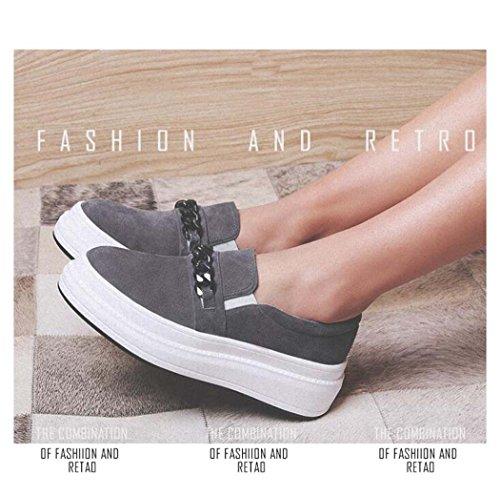 37 de Cadena Tamaño de Planos de 34 Gris Confort Rosa Zapatos Gris Mujer de Metal de Tamaño Solo Plataforma 39 Diseño Zapatos Color Ligero de SCwYfY