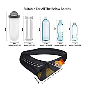 Hilarocky Outdoor Waist Bag Sports Water Resistant Waist Pack with Water Bottle(not included) Holder Running Belt Bag Pouch Fanny Pack for Hiking Running Cycling Camping Climbing Travel
