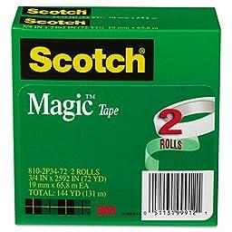 Scotch Magic 810-2P34-72 Invisible Tape,0.75\