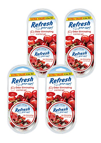 Refresh Your Car! 84983 Scented Gel Can, 2.5 oz Very Cherry, 4-Pack ()