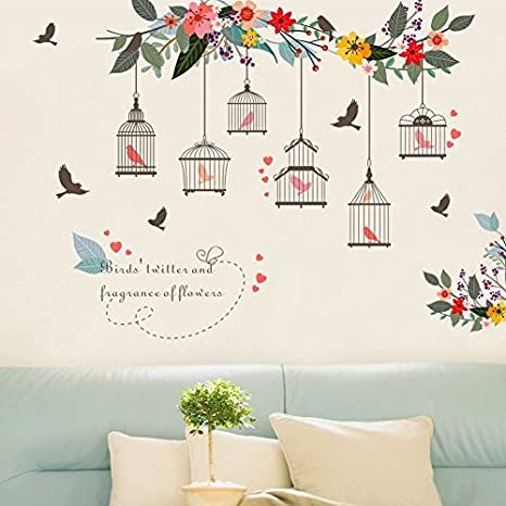 Witkey Birdcages Flowers Flying Birds Wall Stickers Birdhouse Decals Removable Art Wall Stickers home dcor PVC  sc 1 st  Amazon.in & Buy Witkey Birdcages Flowers Flying Birds Wall Stickers Birdhouse ...