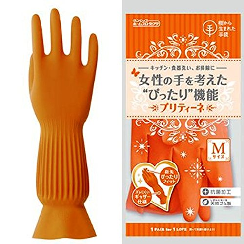 ダンロップホームプロダクツ プリティーネ オレンジ M 樹から生まれた手袋 キッチン 食器洗い お掃除に
