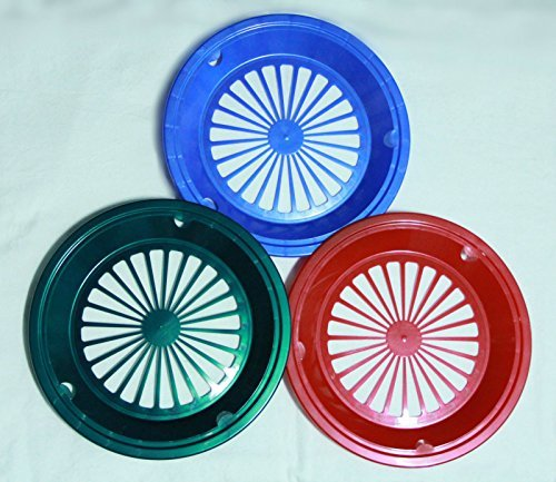 6 GREEN, RED, and BLUE PAPER PLATE HOLDERS, PICNIC, BBQ, PARTIES, & CAMPING]()