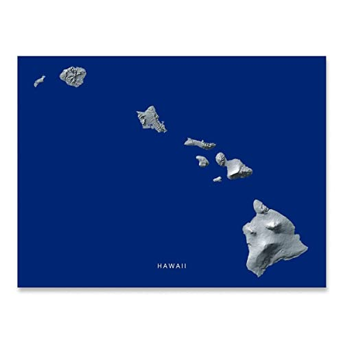 photo relating to Printable Map of Kauai referred to as Hawaii Map Print, Hawaiian Islands Artwork, Armed service Blue Landscape