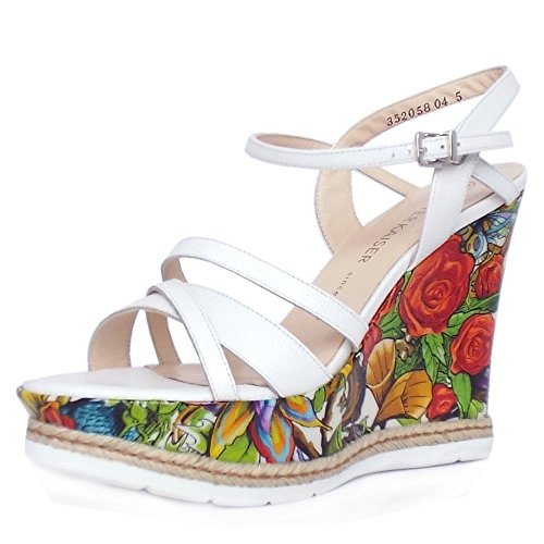 Kaiser Print White Unique In and White Sandals Jenny Peter Patent Wedge High Leather Platform Women's 7axdpqw