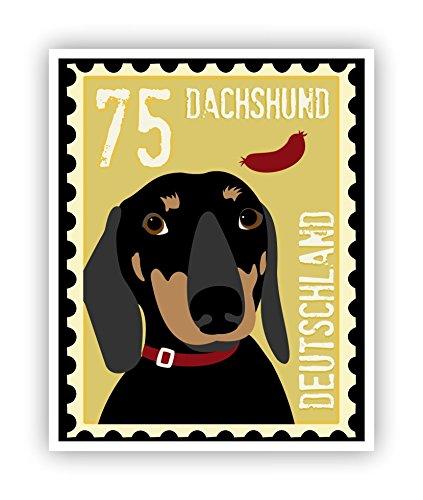 Dachshund Poster Postage Stamp Art 11 x 14