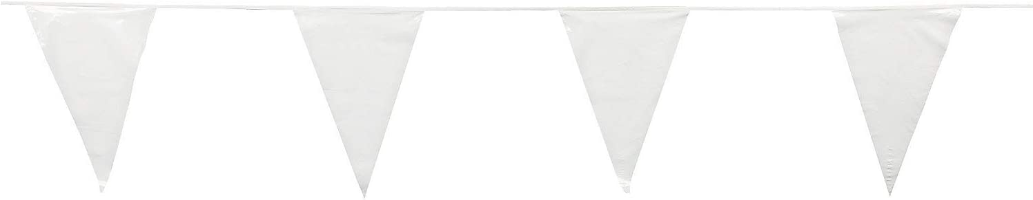 Fun Express - White Pennant Banner (100ft) - Party Decor - Hanging Decor - Pennants - 1 Piece