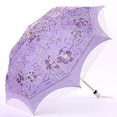 AMYMGLL parasol pliage parapluie dame anti-UV ombre pliage vinyle double double parapluie de haute qualité choix 6 couleurs