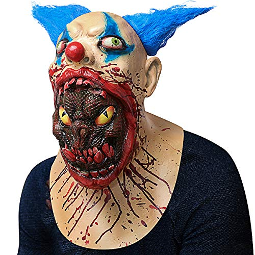 Scary Halloween Costume Party Animal Head Mask Zombie Horror face mask Evil Killer Costume for Adults (Blood face) -