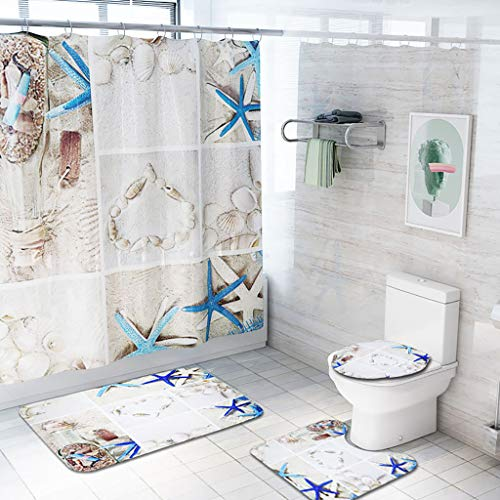 (Hohaski Set of 4 Art Seaside Style Beach Shells Starfish Shower Curtain and Bath Mat Set, Bath Rug Contour Rug Waterproof Non-Slip Bathroom Curtain Set Shower Non-Toxic Odorless Not Moldy (D))