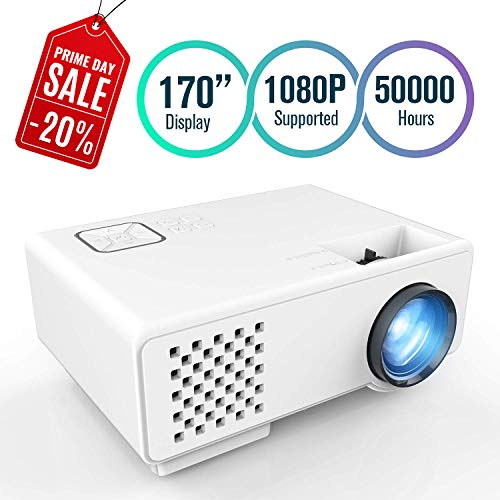 FUNAVO Projector, RD-815 Mini Projector Portable, Full HD 1080P Supported, 50000 Hours Video Projector for Smartphones, Amazon Fire TV Stick & DVD Multimedia Home Theater via HDMI, USB, VGA &AV for $<!--$69.99-->