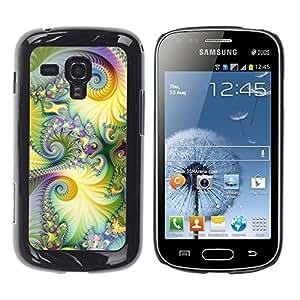 Be Good Phone Accessory // Dura Cáscara cubierta Protectora Caso Carcasa Funda de Protección para Samsung Galaxy S Duos S7562 // Floral Purple Green Lsd Hippie Psychedelic