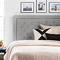 LUCID Upholstered Headboard with Diamond (King, Stone)