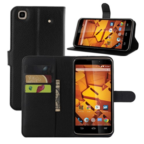 ZTE Boost Max+ Case, Fettion Premium PU Leather Wallet Flip Phone Protective Case Cover with Card Slots and Magnetic Closure for ZTE Boost Max+ Plus N9521 Smartphone (Black) (Phone Cases For A Boost Max Zte)