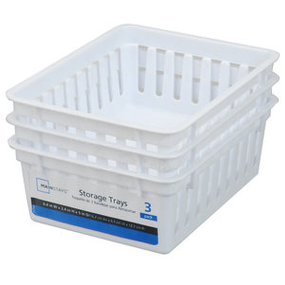 Basic Square Mini Bin Storage Trays - White - 3pk by Mainstay