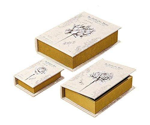 Juego de 3 Cajas Decorativas Tipo Libro Con Tapa en Madera y Tonos Cremas Tamaño 16-30 cm: Amazon.es: Joyería
