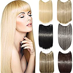 "S-noilite Best Synthetic Hair Extensions Straight Full Head Invisible Wire Secret String No Clips in Hair Extensions Secret Fish Line Hairpieces for Women and Girls(24"", Dark Brown)"