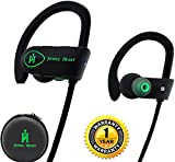 Joyful Heart Wireless Headphones Bluetooth Earbuds - Waterproof Sports Headset with Microphone, JH-800 Noise Cancelling Earphone for Running and Workout, 8 Hour Battery, Black-Green