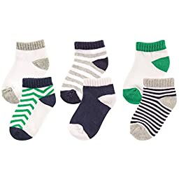 Luvable Friends 6-Pack No Show Socks, Blue and Green, 6-12 Months