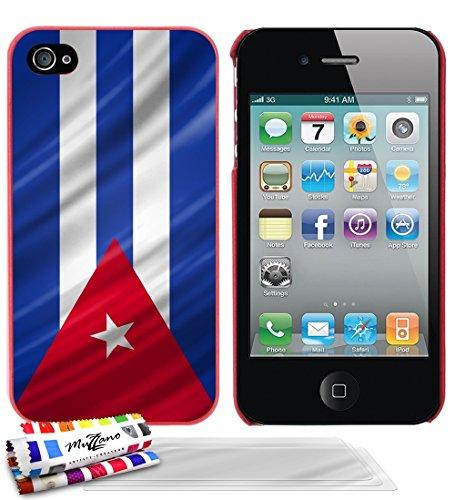 Ultraflache weiche Schutzhülle APPLE IPHONE 4S [Kuba Flagge] [Rot] von MUZZANO + 3 Display-Schutzfolien UltraClear + STIFT und MICROFASERTUCH MUZZANO® GRATIS - Das ULTIMATIVE, ELEGANTE UND LANGLEBIGE