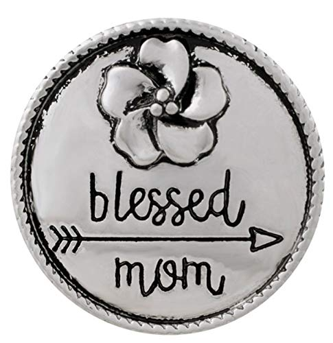 (Rockin Angels Silver Flower Blessed Mom Mother Arrow Love 20mm Snap Charm for Ginger Snaps)