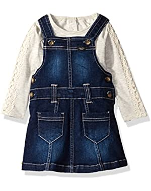 Baby Girls' Denim Jumper with Long Sleeve Shirt