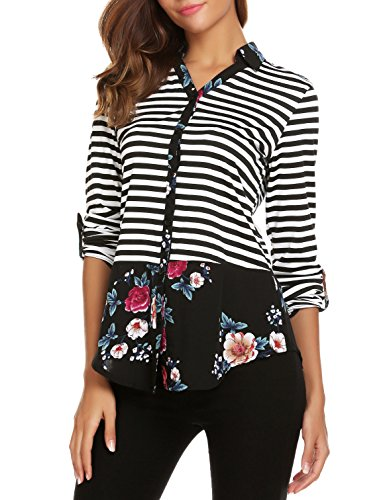 SE MIU Women Casual Striped Floral Print Tops Long Sleeve Blouse - Sale For Miu Miu