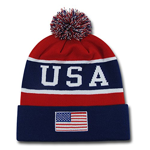 USA Red White & Blue Knitted Stocking Cap w/ Pom (Beanie Stocking Winter Hat)