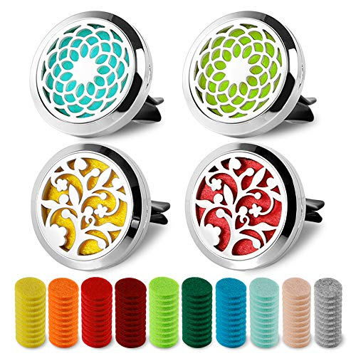 4 PCS Essential Oil Car Diffuser Vent Clip Stainless Steel Locket Car Aromatherapy Diffuser with 60 Refill Pads