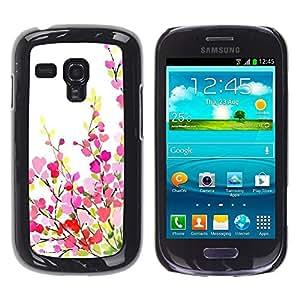 FECELL CITY // Duro Aluminio Pegatina PC Caso decorativo Funda Carcasa de Protección para Samsung Galaxy S3 MINI NOT REGULAR! I8190 I8190N // Green White Pink Purple Spring