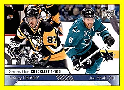 2016-17 Upper Deck #199 Sidney Crosby Joe Pavelski PENGUINS SHARKS Unmarked Checklist