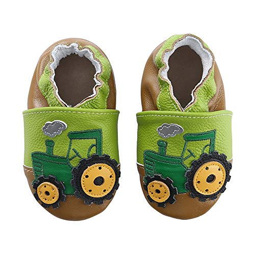Unicorn Baby Moccasins Girl and Boy Soft Leather Toddler First Walker Shoes 0-6-12-18-24 Months (5 M Toddler(5.0inch/ 6-12Mo.), Green Tractor) - Leather Baby Booties
