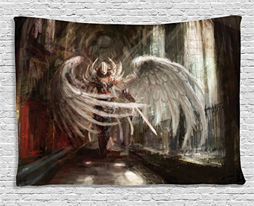 Ambesonne Fantasy House Decor Collection, Cyborg Angel Girl Warrior with Sword in Gothic Ancient Historical Architecture , Bedroom Living Room Dorm Wall Hanging Tapestry, 80W X 60L Inch, Brown White