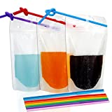 "Tomnk 100pcs Clear Drink Pouches Bags Heavy Duty Hand-held Translucent Reclosable Zipper Stand-up Plastic Pouches Bags Drinking Bags 2.4"" Bottom Gusset with 100pcs Straws"