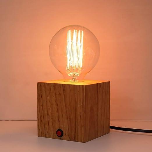 Jtivcs Lámparas de escritorio de madera cuadradas pequeñas ...