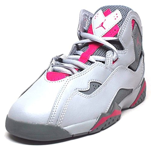 Jordan Nike Kids True Flight GP Wolf Grey/Deadly Pink Basketball Shoe 13 Kids US