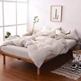 MisDress Jersey Knit Cotton 3 Pieces Striped Duvet Cover Twin Reversible Bedding Set Twin XL Comforter Cover and Pillowcases Light Coffee/Off White